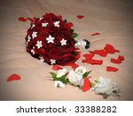 wedding bouquet of red roses... | Shutterstock . vector #33388282