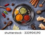 various spices like turmeric ... | Shutterstock . vector #333904190