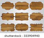 9 wooden signs  vintage style. | Shutterstock .eps vector #333904940
