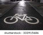 Cycle Path Lane Sign In A Wet...