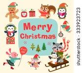 set of cute cartoon christmas... | Shutterstock .eps vector #333923723