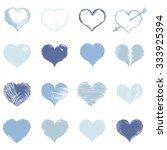 vector set of blue sketch hearts   Shutterstock .eps vector #333925394