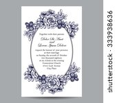 invitation with floral... | Shutterstock . vector #333938636