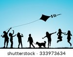 children silhouettes playing in ... | Shutterstock .eps vector #333973634