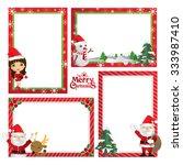 border design little girl in... | Shutterstock .eps vector #333987410