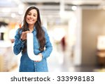 happy young woman with letter j | Shutterstock . vector #333998183