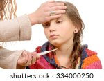 mother measuring fever of her... | Shutterstock . vector #334000250