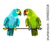 Illustration Of Two Parrots On...