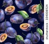 watercolor plums seamless... | Shutterstock . vector #334008524