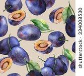 watercolor plums seamless... | Shutterstock . vector #334008530