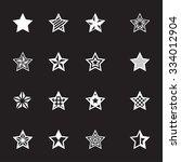 vector white stars icon set on...   Shutterstock .eps vector #334012904