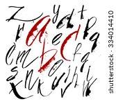 vector hand drawn alphabet in... | Shutterstock .eps vector #334014410
