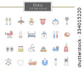 baby flat line icon set | Shutterstock .eps vector #334015220