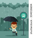 cute cartoon businessman with... | Shutterstock .eps vector #334018604