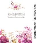 watercolor garden floral... | Shutterstock . vector #334029428