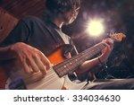rock star with a bass guitar   Shutterstock . vector #334034630