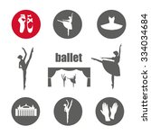 ballet icon set with ballet... | Shutterstock .eps vector #334034684