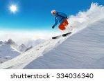 Man Skier Running Downhill On...