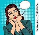 woman thinks work businesswoman ... | Shutterstock .eps vector #334061864