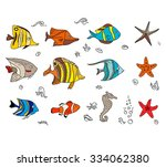 set with coral fishes. for your ... | Shutterstock .eps vector #334062380