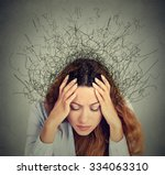 closeup sad young woman with... | Shutterstock . vector #334063310