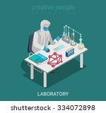 flat 3d isometric science lab... | Shutterstock .eps vector #334072898