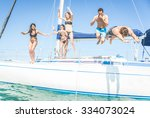 group of friends jumping from... | Shutterstock . vector #334073024