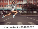 beautiful dancing girl on a... | Shutterstock . vector #334073828