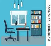workplace flat vector interior. | Shutterstock .eps vector #334075010