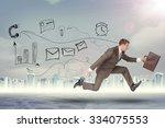 businessman running fast with... | Shutterstock . vector #334075553