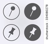 push pin icon set in circle .... | Shutterstock .eps vector #334080278