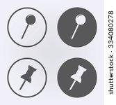 Push Pin Icon Set In Circle ....