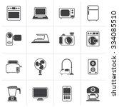 black household appliances and... | Shutterstock .eps vector #334085510