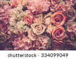 Stock photo pink roses background retro filter 334099049