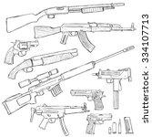 vector sketch set of firearm...   Shutterstock .eps vector #334107713