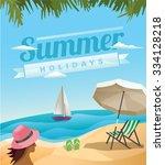 Stock vector beach scene summer holidays flat artwork 334128218