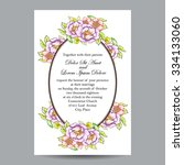 invitation with floral... | Shutterstock . vector #334133060