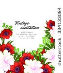 invitation with floral... | Shutterstock . vector #334133084