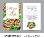 invitation with floral... | Shutterstock . vector #334133240