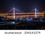 view of russkiy bridge at night ...   Shutterstock . vector #334141379
