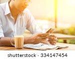 asian indian businessman using...   Shutterstock . vector #334147454