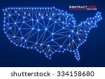 abstract polygonal  map usa... | Shutterstock .eps vector #334158680