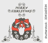 christmas card template.... | Shutterstock .eps vector #334160534