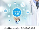 doctor hand touching first aid... | Shutterstock . vector #334161584