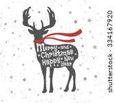 christmas deer. merry christmas ... | Shutterstock .eps vector #334167920