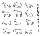 outline icon animals set.... | Shutterstock . vector #334178018
