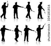 set black silhouettes  police... | Shutterstock . vector #334181816