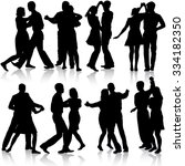 black silhouettes dancing on...   Shutterstock . vector #334182350