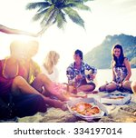 beach summer party enjoyment... | Shutterstock . vector #334197014