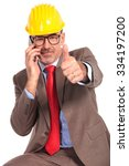 happy senior construction... | Shutterstock . vector #334197200
